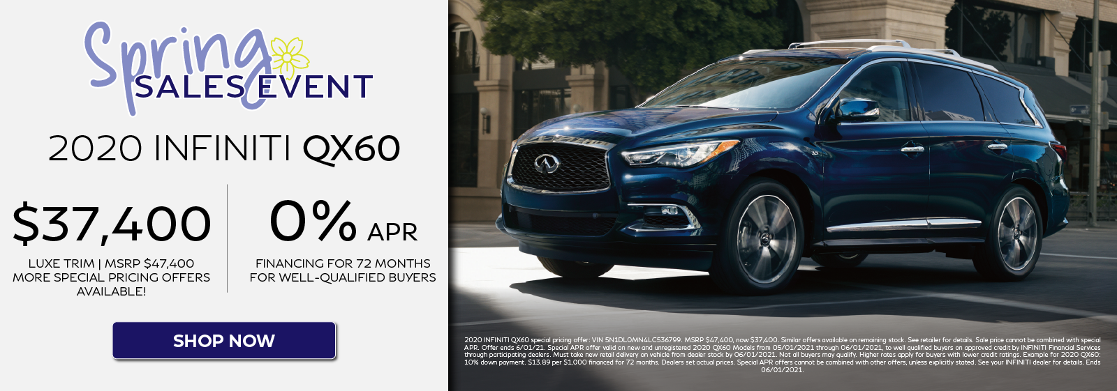 2020 QX60 Special APR & Pricing Offer. Click to shop now.