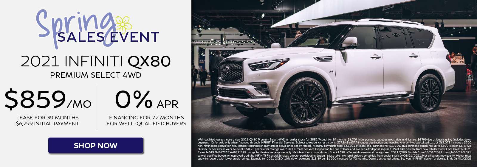 2021 QX80 Premium Select 4WD Lease and APR Offers. Click to shop now.