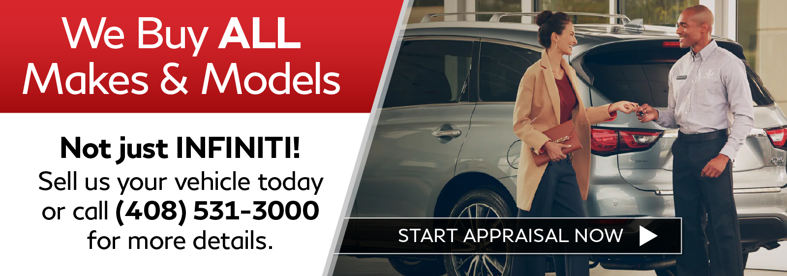 We Buy Cars. Click to start appraisal.
