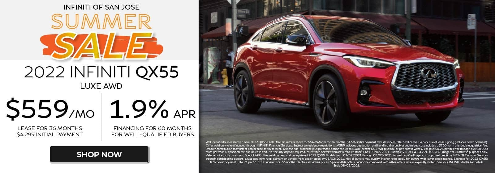 2022 QX55 LUXE AWD $559/mo for 36 months 1.9%APR