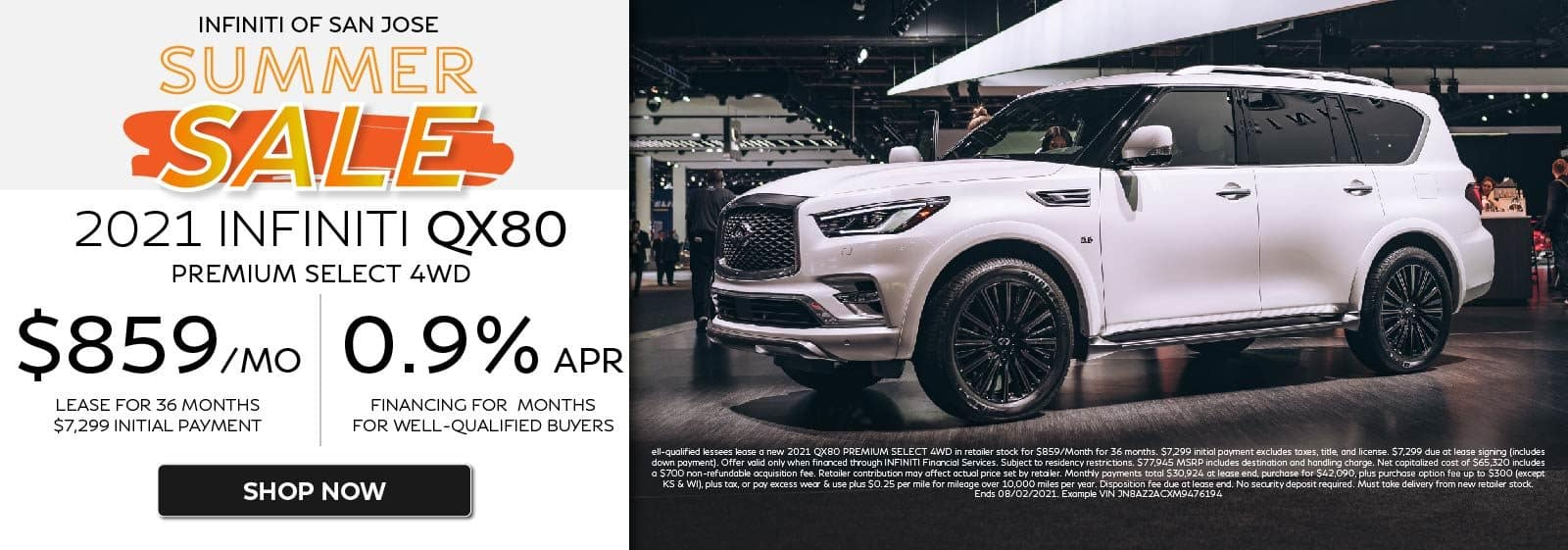 2021 QX80 PREMIUMSELECT 4WD AWD $859/mo for 36 months 0.9%APR