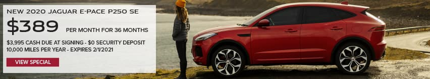 2020 JAGUAR E-PACE P250 SE. $389 PER MONTH. 36 MONTH LEASE TERM. $3,995 CASH DUE AT SIGNING. $0 SECURITY DEPOSIT. 10,000 MILES PER YEAR. EXCLUDES RETAILER FEES, TAXES, TITLE AND REGISTRATION FEES, PROCESSING FEE AND ANY EMISSION TESTING CHARGE. OFFER ENDS 2/1/2021. VIEW SPECIAL. RED JAGUAR E-PACE PARKED IN FRONT OF LAKE.