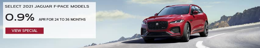 SELECT 2021 JAGUAR F-PACE MODELS. BASE MSRP FROM $53,895. FINANCE AT 0.9% APR FOR 24 TO 36 MONTHS. EXCLUDES TAXES, TITLE, LICENSE AND FEES. ENDS 4/30/2021. VIEW INVENTORY. RED JAGUAR F-PACE DRIVING THROUGH MOUNTAIN RANGE.