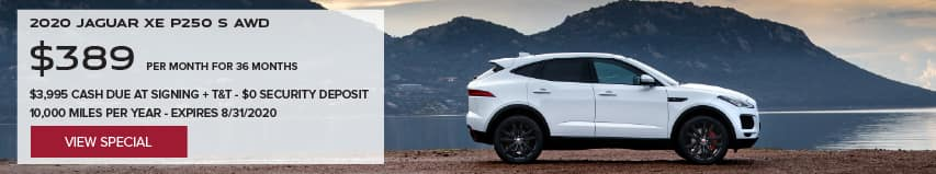 2020 JAGUAR E-PACE P250 SE. $389 PER MONTH. 36 MONTH LEASE TERM. $3,995 CASH DUE AT SIGNING. $0 SECURITY DEPOSIT. 10,000 MILES PER YEAR. EXCLUDES RETAILER FEES, TAXES, TITLE AND REGISTRATION FEES, PROCESSING FEE AND ANY EMISSION TESTING CHARGE. OFFER ENDS 8/31/2020. VIEW INVENTORY. WHITE JAGUAR E-PACE PARKED ON DIRT ROAD.
