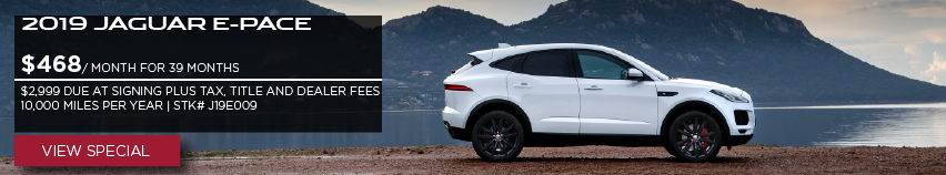 2019 JAGUAR E-PACE_$468 PER MONTH FOR 39 MONTHS_$2,999 DUE AT SIGNING + TAX, TITLE, LICENSE AND FEES_$0 SECURITY DEPOSIT_10,000 MILES PER YEAR_AVAILABLE ON STOCK NUMBER J193009_OFFER EXPIRES JANUARY 31, 2020_VIEW VEHICLE_WHITE JAGUAR E-PACE SITTING IN FRONT OF MOUNTAIN RANGE AND LAKE