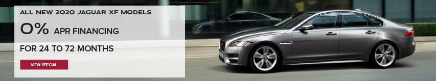 ALL 2020 JAGUAR XF MODELS. BASE MSRP FROM $51,100. FINANCE AT 0% APR FOR 24 TO 72 MONTHS. EXCLUDES TAXES, TITLE, LICENSE AND FEES. ENDS 9/30/2020. VIEW SPECIAL. SILVER JAGUAR XF DRIVING DOWN ROAD IN CITY.
