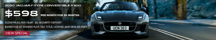 2020 JAGUAR F-TYPE CONVERTIBLE P300. $598 PER MONTH . 39 MONTH LEASE TERM. 10,000 MILES PER YEAR. $0 SECURITY DEPOSIT. $4,999 DUE AT SIGNING PLUS TAX, TITLE, LICENSE & DEALER FEES. VIEW INVENTORY. BLACK JAGUAR F-TYPE CONVERTIBLE DRIVING DOWN STREET NEAR PALM TREES.