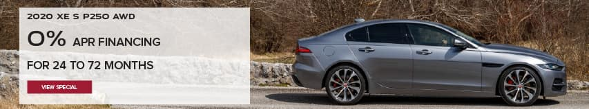 2020 JAGUAR XE P250 S AWD. $369 PER MONTH. BASE MSRP FROM $39,900. FINANCE AT 0% APR FOR 24 TO 72 MONTHS. EXCLUDES TAXES, TITLE, LICENSE AND FEE. ENDS 11/2/2020. VIEW SPECIAL. SILVER JAGUAR XE DRIVING DOWN ROAD IN COUNTRYSIDE.