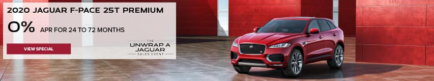 ALL 2020 JAGUAR F-PACE MODELS. BASE MSRP FROM $45,200.FINANCE AT 0% APR FOR 24 TO 72 MONTHS. EXCLUDES TAXES, TITLE, LICENSE AND FEES. ENDS 11/30/2020. RED JAGUAR F-PACE PARKED IN FRONT OF RED HOLIDAY PACKAGES.