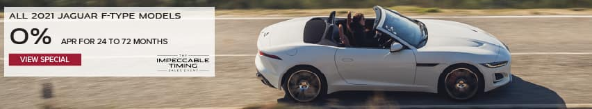ALL 2021 JAGUAR F-TYPE MODELS. BASE MSRP FROM $61,600. FINANCE AT 0% APR FOR 24 TO 72 MONTHS. EXCLUDES TAXES, TITLE, LICENSE AND FEES. ENDS 3/31/2021. WHITE JAGUAR F-TYPE CONVERTIBLE DRIVING THROUGH COUNTRYSIDE. VIEW SPECIAL.