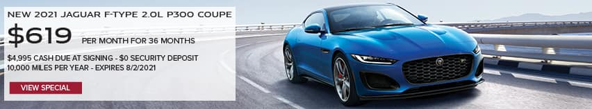 NEW 2021 JAGUAR F-TYPE 2.0L P300 COUPE. $619 PER MONTH. 36 MONTH LEASE TERM. $4,995 CASH DUE AT SIGNING. $0 SECURITY DEPOSIT. 10,000 MILES PER YEAR. EXCLUDES RETAILER FEES, TAXES, TITLE AND REGISTRATION FEES, PROCESSING FEE AND ANY EMISSION TESTING CHARGE. OFFER ENDS 8/2/2021. VIEW INVENTORY. BLUE JAGUAR F-TYPE COUPE DRIVING DOWN HIGHWAY.
