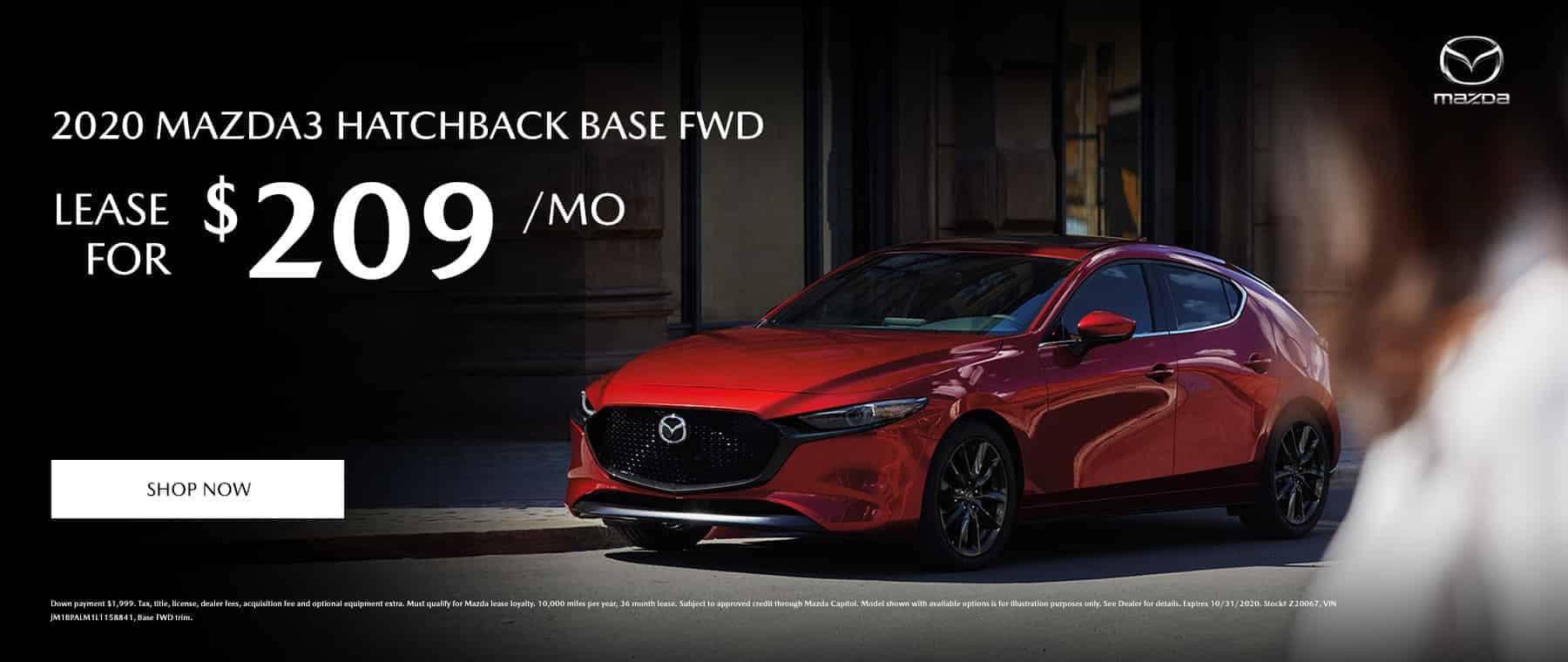 Lease a 2020 Mazda 3 Hatchback Base FWD for $209 per month