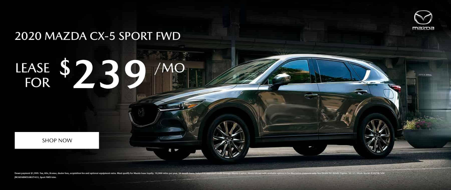 Lease a 2020 Mazda CX-5 Sport FWD for $239 per month