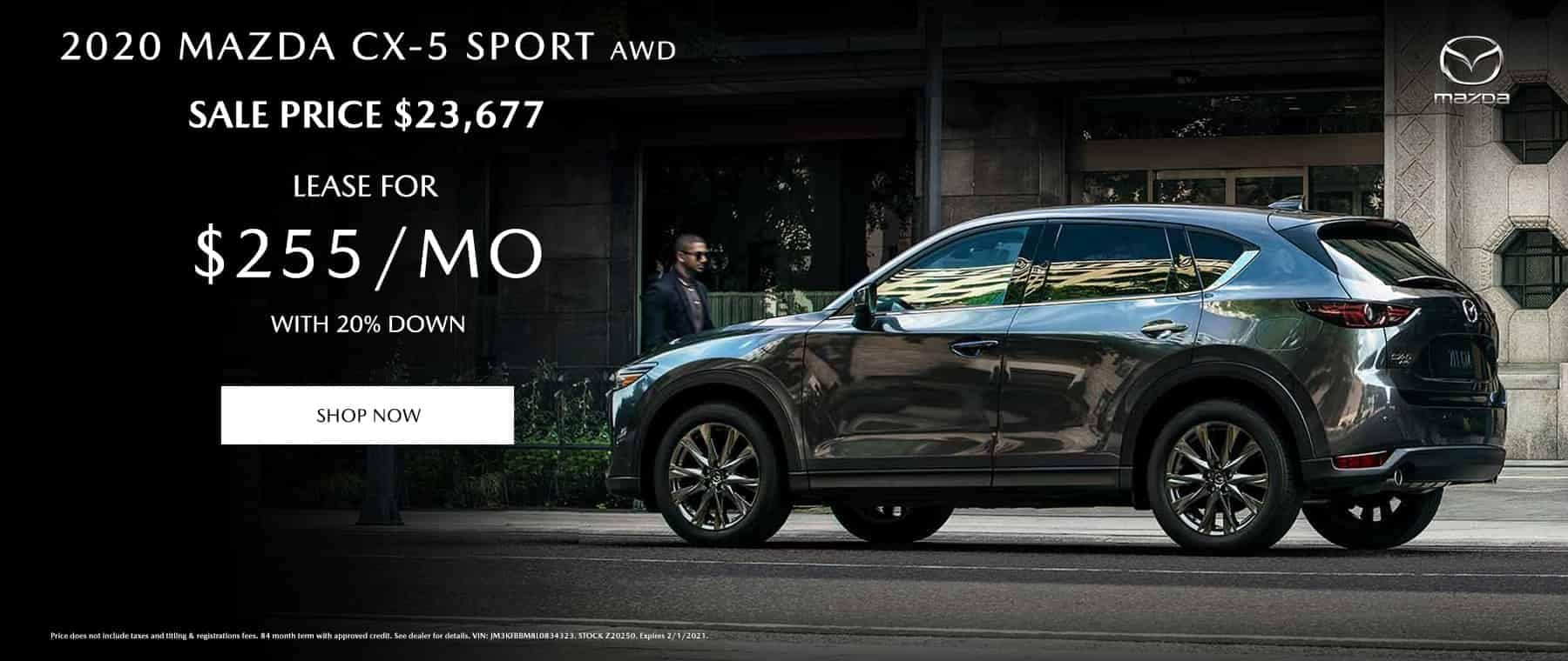 2020 Mazda CX-5 Sport AWD Sale Price $23,677 / Only $255/mo