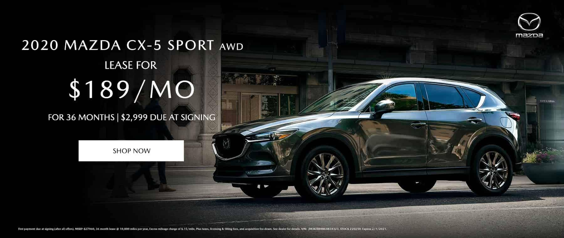 2020 Mazda CX-5 Sport AWD Lease $189/mo