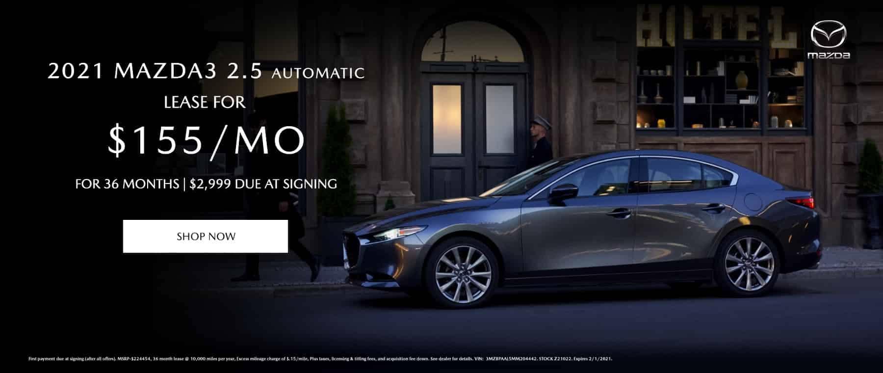 2021 Mazda3 2.5 Automatic Lease $155/mo