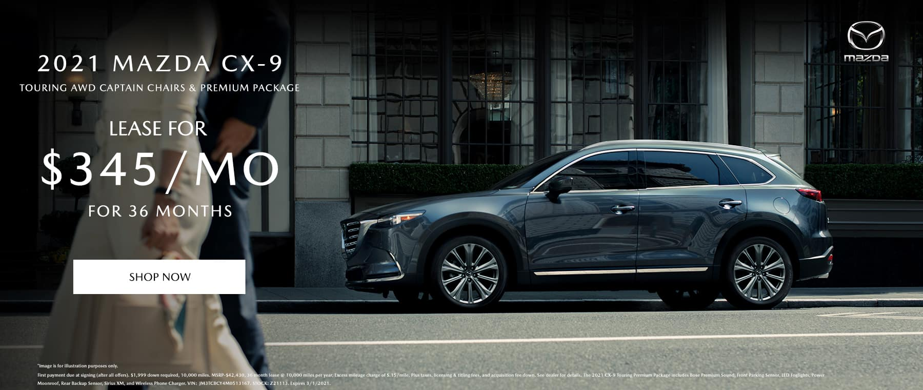 2021 Mazda CX-9 Touring AWD w/ Captain Chairs & Premium Package $345/Month for 36 Months