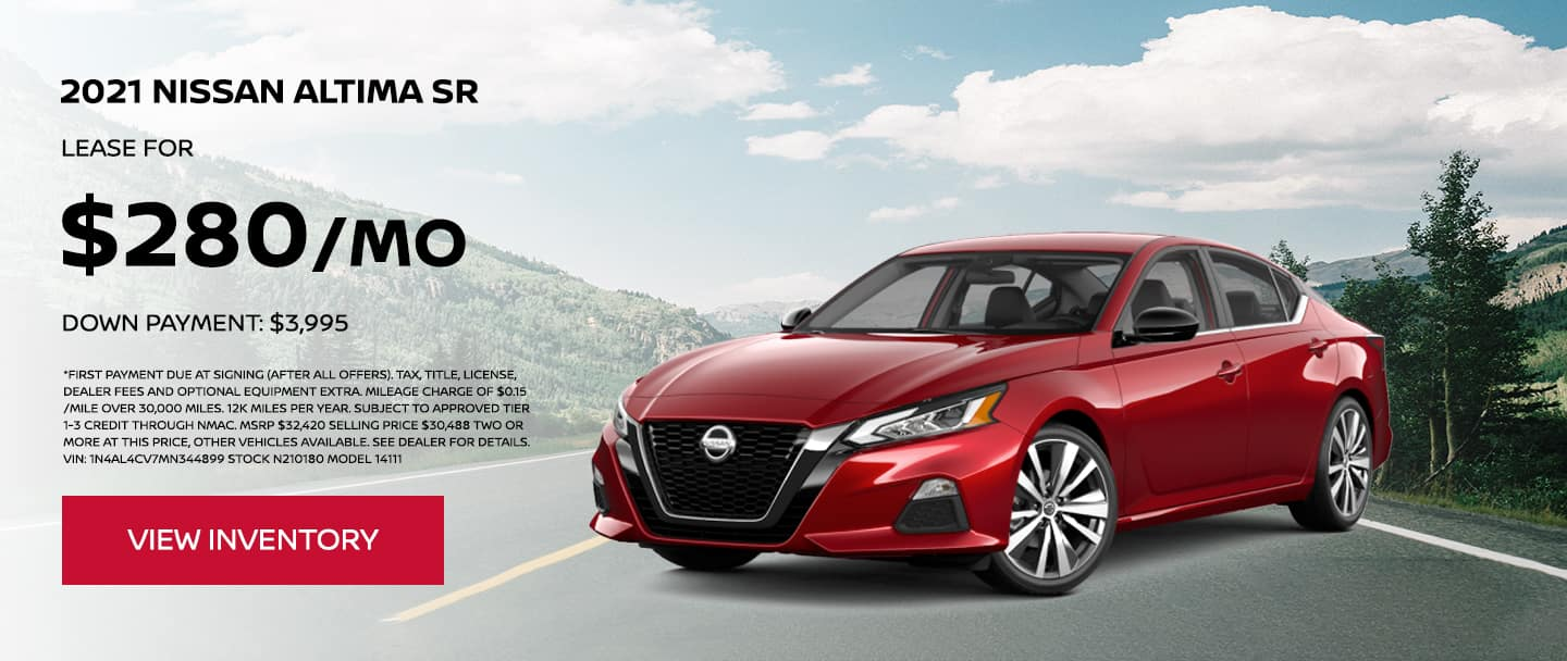 Lease a 2021 Nissan Altima SR for $280 per month. $3,995 Down Payment.