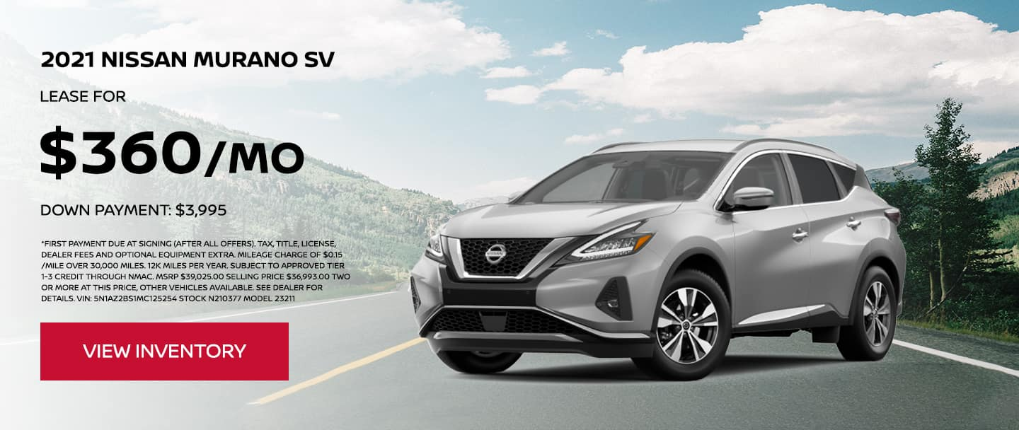 Lease a 2021 Nissan Murano SV for $360 per month. $3,995 Down Payment.
