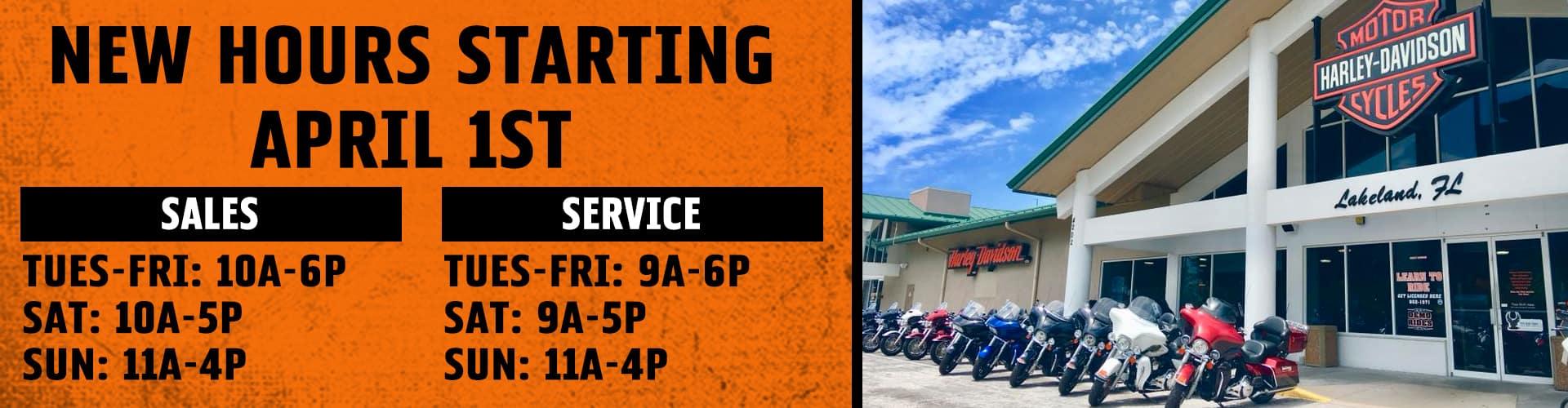 Revised Hours at Lakeland Harley-Davidson!