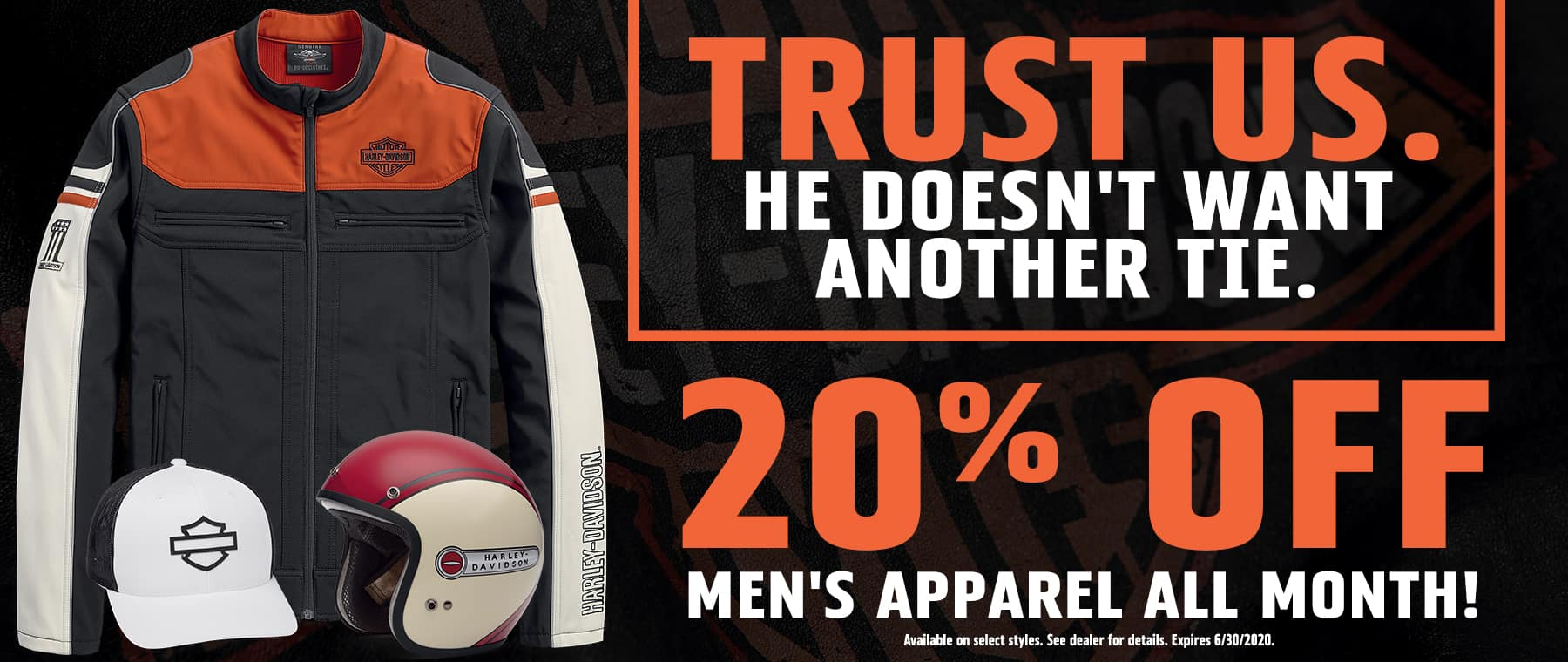 20% Off Men's Apparel All Month!