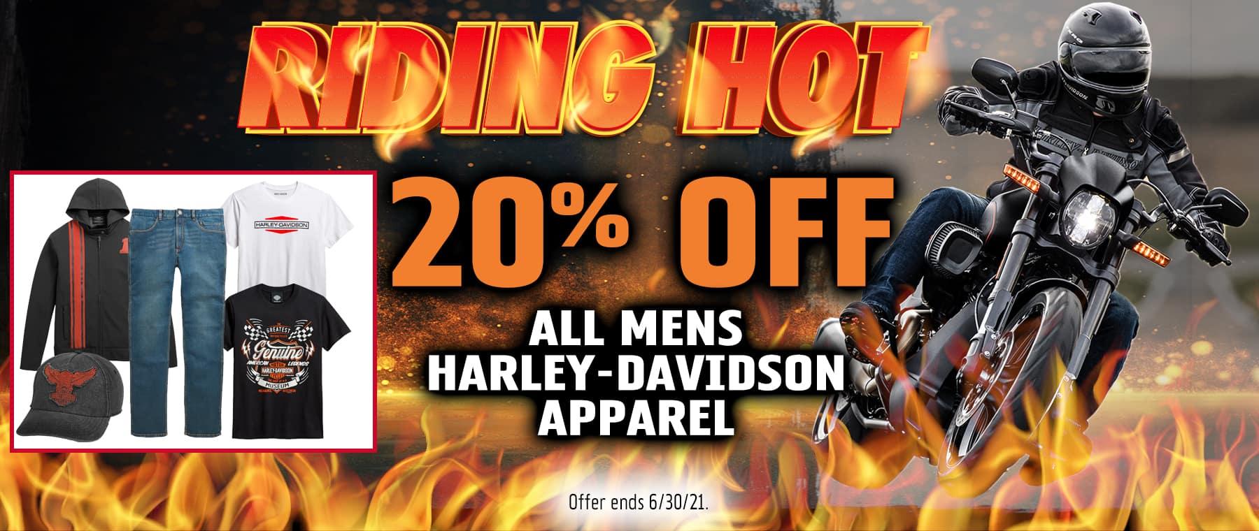 20% OFF ALL MENS HARLEY-DAVIDSON APPAREL