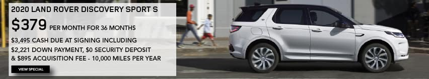2020 LAND ROVER DISCOVERY SPORT S. $379 PER MONTH. 36 MONTH LEASE TERM. $3,495 CASH DUE AT SIGNING INCLUDING $2,221 DOWN PAYMENT, $0 SECURITY DEPOSIT AND $895 ACQUISITION FEE. 10,000 MILES PER YEAR. EXCLUDES RETAILER FEES, TAXES, TITLE AND REGISTRATION FEES, PROCESSING FEE AND ANY EMISSION TESTING CHARGE. ENDS 2/1/2021. VIEW INVENTORY. WHITE LAND ROVER DISCOVERY SPORT DRIVING THROUGH CITY.