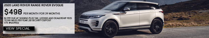 2020 LAND ROVER RANGE ROVER EVOQUE_$498 PER MONTH FOR 39 MONTHS $2,999 DUE AT SIGNING PLUS TAX, LICENSE AND DEALERSHIP FEES 10,000 MILES PER YEAR | $0 SECURITY DEPOSIT  STK #N209002_VIEW SPECIAL_ GRAY RANGE ROVER EVOQUE IN FRONT OF MOUNTAIN