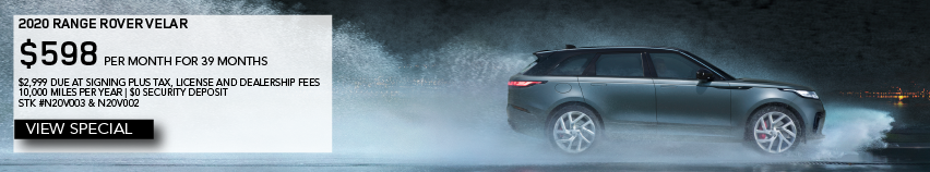 2020 LAND ROVER RANGE ROVER VELAR. $598 PER MONTH FOR 30 MONTHS. $2,999 DUE AT SIGNING PLUS TAX, TITLE, LICENSE AND DEALER FEES. 10,000 MILES PER YEAR. $0 SECURITY DEPOSIT. AVAILABLE ON STOCK NUMBER 20V003 and N20V002. VIEW SPECIAL. BLUE RANGE ROVER DRIVING DOWN STREET IN RAIN.