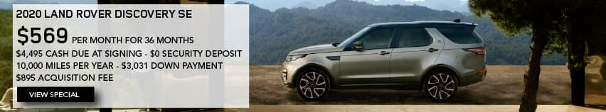 2020 LAND ROVER DISCOVERY SE. $569 PER MONTH. 36 MONTH LEASE TERM. $4,495 CASH DUE AT SIGNING. $0 SECURITY DEPOSIT. 10,000 MILES PER YEAR. EXCLUDES RETAILER FEES, TAXES, TITLE AND REGISTRATION FEES, PROCESSING FEE AND ANY EMISSION TESTING CHARGE. ENDS 11/2/2020. VIEW SPECIAL. BROWN LAND ROVER PARKED IN DRIVEWAY IN MOUNTAINS.