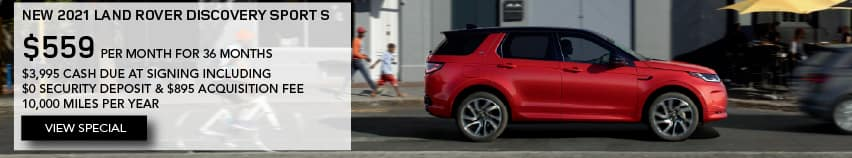 NEW 2021 LAND ROVER DISCOVERY SPORT S. $559 PER MONTH. 36 MONTH LEASE TERM. $3,995 CASH DUE AT SIGNING. $0 SECURITY DEPOSIT. 10,000 MILES PER YEAR. EXCLUDES RETAILER FEES, TAXES, TITLE AND REGISTRATION FEES, PROCESSING FEE AND ANY EMISSION TESTING CHARGE. OFFER ENDS 11/1/2021. VIEW SPECIAL. RED LAND ROVER DISCOVERY SPORT DRIVING THROUGH CITY.