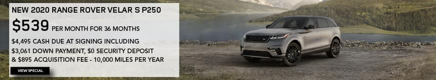 2020 RANGE ROVER VELAR S. $539 PER MONTH. 36 MONTH LEASE TERM. $4,495 CASH DUE AT SIGNING INCLUDING $3,061 DOWN PAYMENT, $0 SECURITY DEPOSIT AND $895 ACQUISITION FEE. 10,000 MILES PER YEAR. EXCLUDES RETAILER FEES, TAXES, TITLE AND REGISTRATION FEES, PROCESSING FEE AND ANY EMISSION TESTING CHARGE. ENDS 2/1/2021. VIEW SPECIAL. BROWN RANGE ROVER VELAR PARKED IN VALLEY.