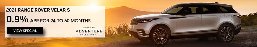 ALL 2021 RANGE ROVER VELAR MODELS. FINANCE AT 0.9% APR FOR 24 TO 60 MONTHS. EXCLUDES TAXES, TITLE, LICENSE AND FEES. OFFER ENDS 3/1/2021. SILVER RANGE ROVER VELAR PARKED AT SUNSET. VIEW SPECIAL.