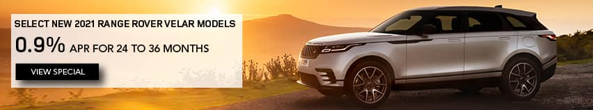 SELECT 2021 RANGE ROVER VELAR MODELS. FINANCE AT 0.9% APR FOR 24 TO 36 MONTHS. EXCLUDES TAXES, TITLE, LICENSE AND FEES. OFFER ENDS 4/30/2021. BROWN RANGE ROVER VELAR PARKED OVERLOOKING SUNSET. VIEW SPECIAL.
