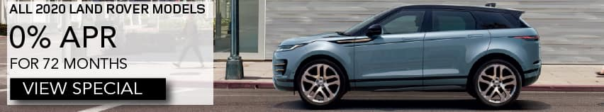 ALL 2020 LAND ROVER MODELS. 0% APR FOR 72 MONTHS. VIEW INVENTORY. LIGHT BLUE RANGE ROVER EVOQUE DRIVING THROUGH CITY.