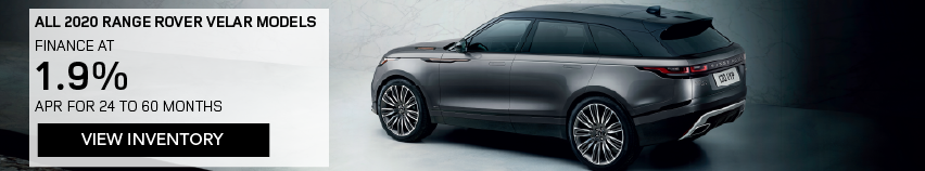 All 2020 Range Rover Velar models. One 2020 Velar shown in show room agains white background. FINANCE AT 1.9% APR FOR 24 TO 60 MONTHS INCLUDES $1,000 CUSTOMER CREDIT. View Inventory.