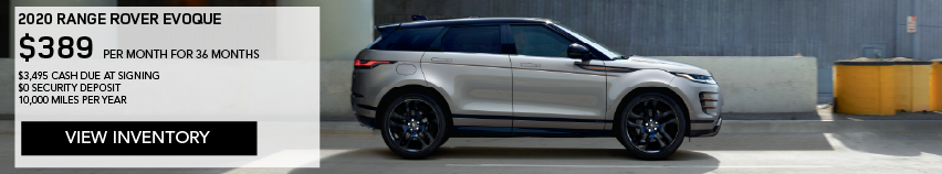 2020 Range Rover Evoque S 5-Door on road in front of warehouse building. LEASE FOR $389 PER MONTH FOR 36 MONTHS* $3,495 CASH DUE AT SIGNING. View Inventory.