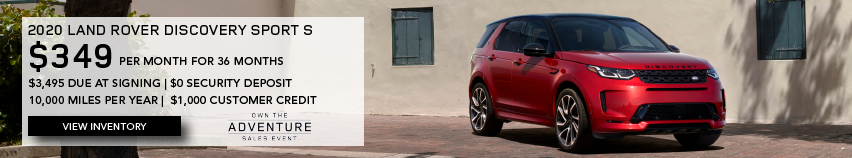 NEW RED 2020 LAND ROVER DISCOVERY SPORT S ON BRICK ROAD NEAR BUILDING. $349 PER MONTH. 36 MONTH LEASE TERM. $3,495 CASH DUE AT SIGNING. $0 SECURITY DEPOSIT. 10,000 MILES PER YEAR. EXCLUDES RETAILER FEES, TAXES, TITLE AND REGISTRATION FEES, PROCESSING FEE AND ANY EMISSION TESTING CHARGE. INCLUDES $1,000 CUSTOMER CREDIT. ENDS 3/31/2021. CLICK TO VIEW INVENTORY.