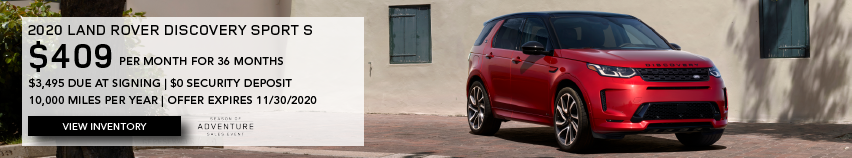RED 2020 LAND ROVER DISCOVERY SPORT S ON BRICK ROAD NEAR BUILDING. $409 PER MONTH. 36 MONTH LEASE TERM. $3,495 CASH DUE AT SIGNING. $0 SECURITY DEPOSIT. 10,000 MILES PER YEAR. EXCLUDES RETAILER FEES, TAXES, TITLE AND REGISTRATION FEES, PROCESSING FEE AND ANY EMISSION TESTING CHARGE. ENDS 11/30/2020.