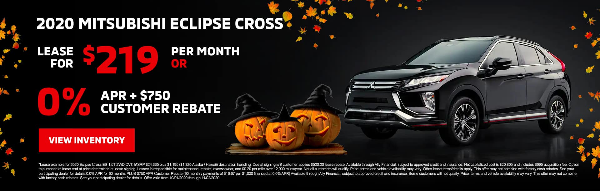 2020 Mitsubishi Eclipse Cross Lease for $219/mo with $3,943 due at signing OR 0.0% APR + $750 Customer Rebate