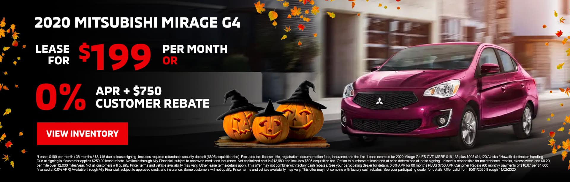 2020 Mitsubishi Mirage G4 Lease for $199/mo with $3,148 due at signing OR 0.0% APR + $750 Customer Rebate