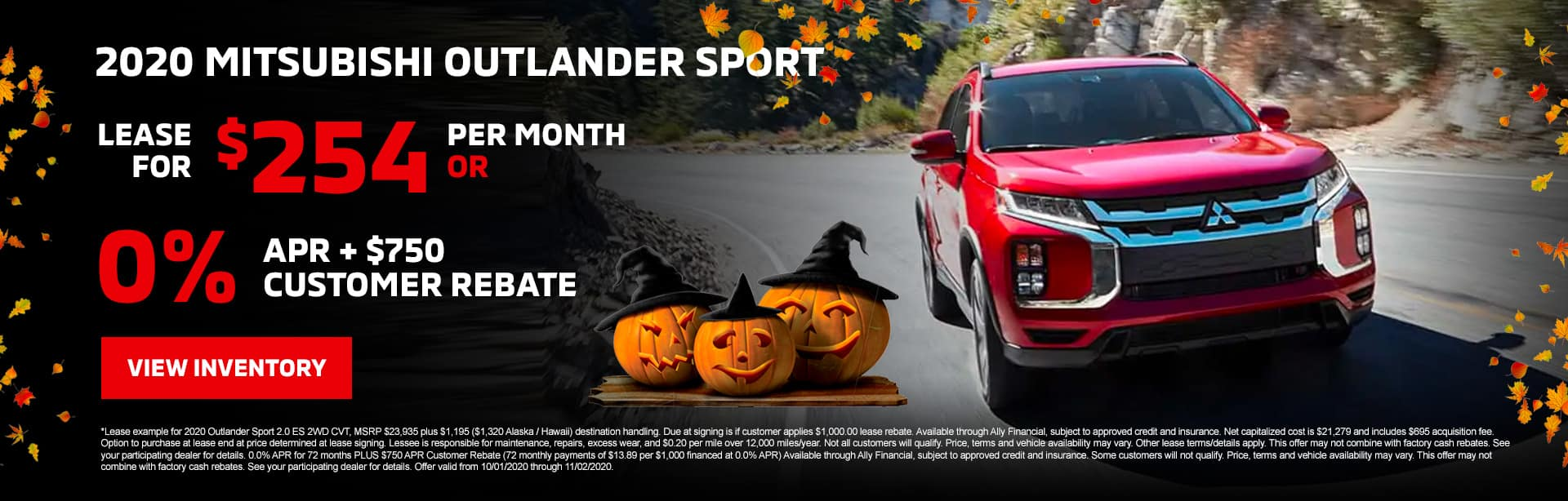 2020 Mitsubishi Outlander Sport Lease for $254/mo with $2,528 due at signing OR 0.0% APR + $750 Customer Rebate