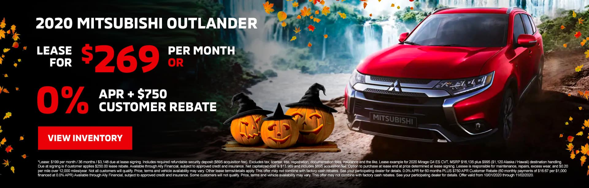 2020 Mitsubishi Outlander Lease for $269/mo with $2,543 due at signing OR 0% APR + $750 Customer Rebate