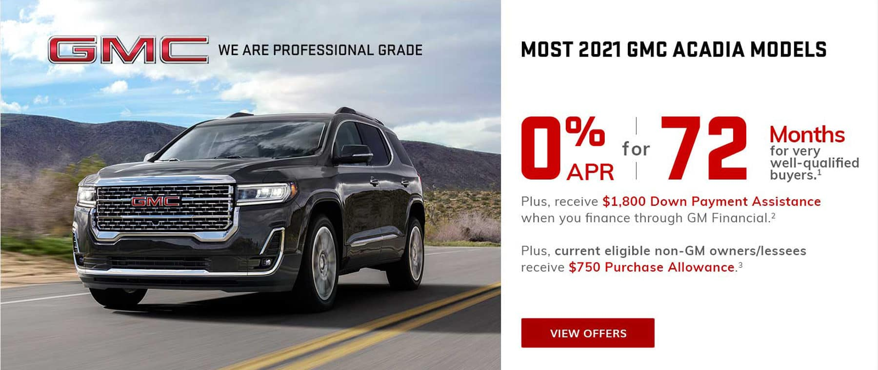 GMC Acadia 0% Financing for 72 Months in West Bend WI