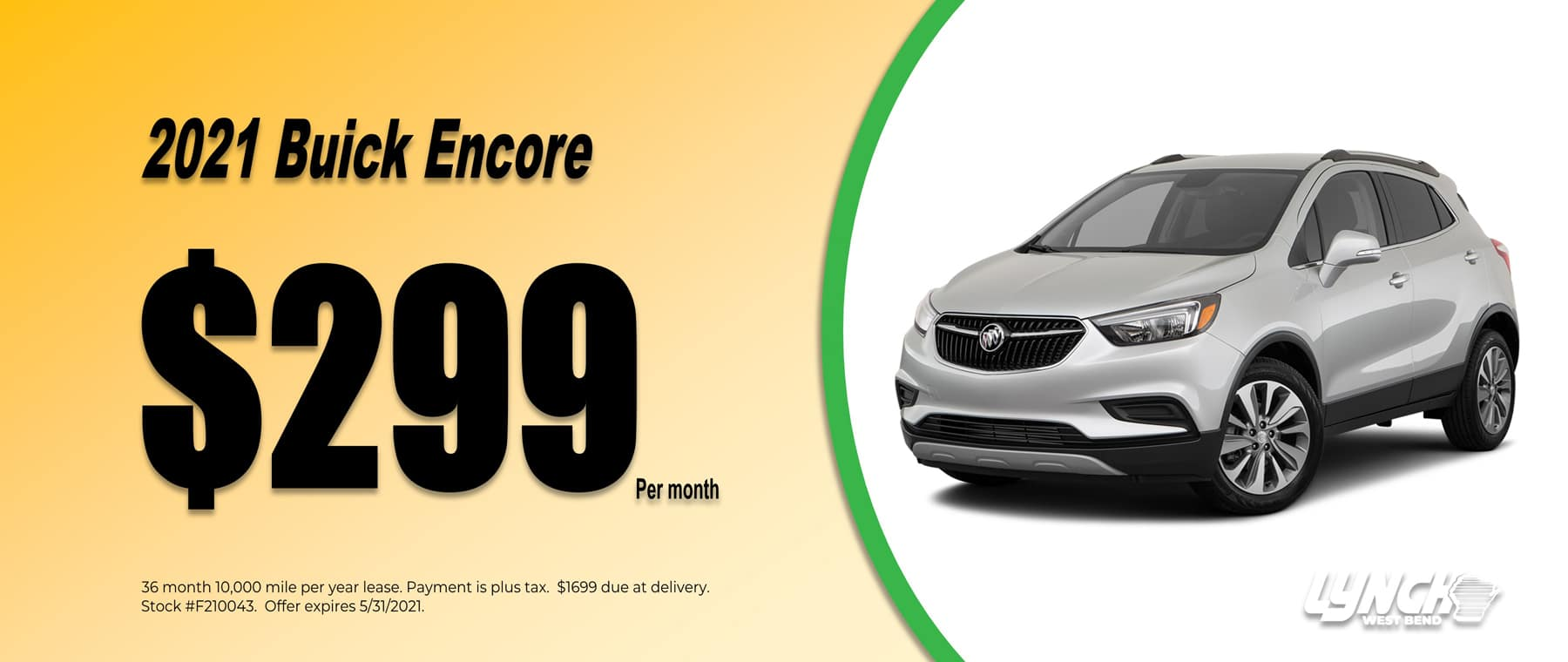 2021 Buick Encore $299 per month in West Bend Wisconsin