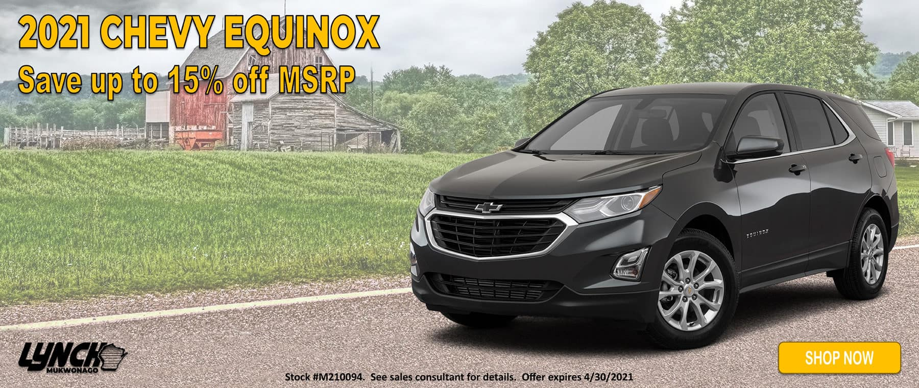 15% off MSRP on 2021 Chevy Equinox in Mukwonago WI