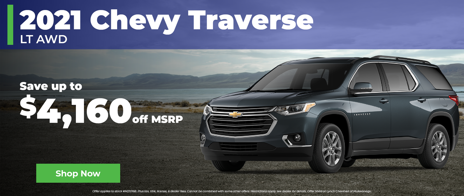 Save over $4,000 off MSRP on 2021 Chevy Traverse in Mukwonago Wisconsin