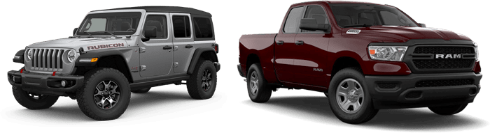 Silver Jeep Wrangler and Maroon Ram 1500 lined up next to each other