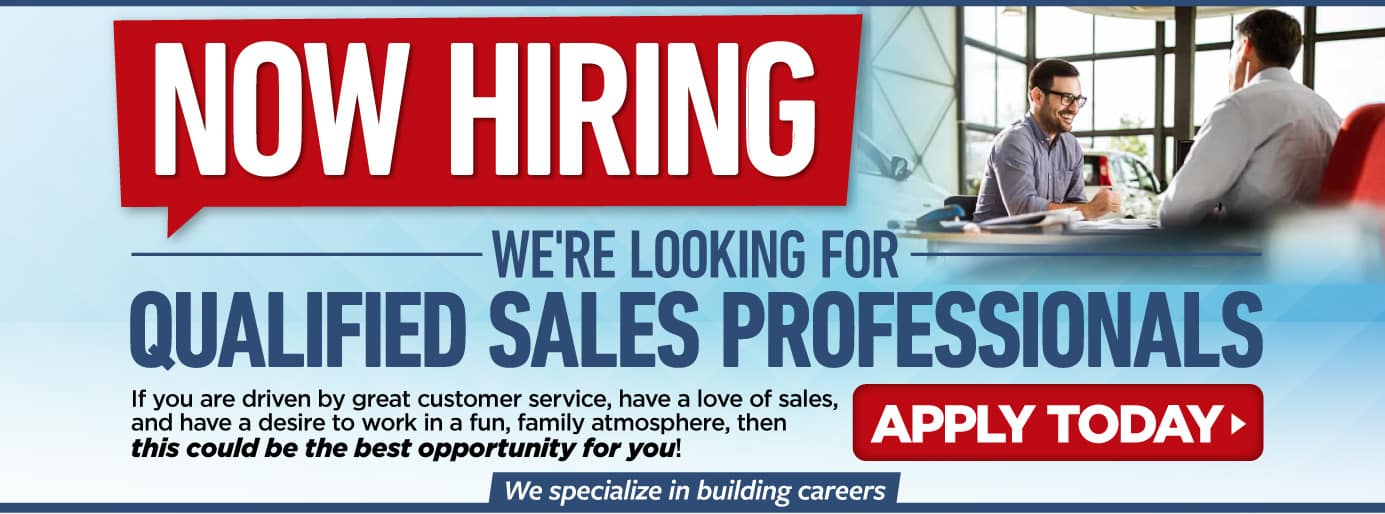 Now Hiring qualified sales professionals | Apply Today