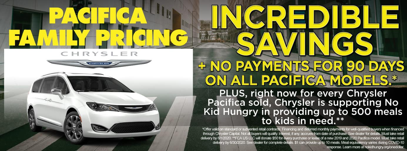 Incredible Savings + no payments for 90 days on all Pacifica models